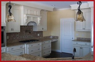 Kitchen and cabinets with countertops showroom