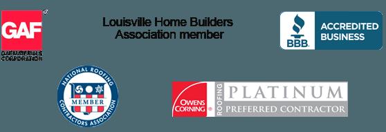 GAF Shingles, Louisville Home Builders Association member, BBB member, National Roofing Contractors Association, Owens Corning preferred contractor logo