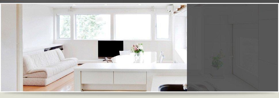 Kitchen room with windows