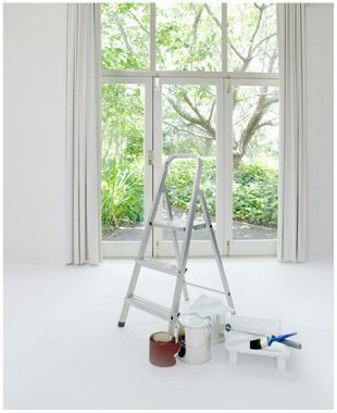 Window with folding ladder