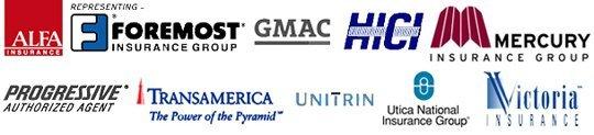 ALFA Insurance, Foremost, GMAC, HICI, Mercury, Progressive, Transamerica, Unitrin, Utica National, and Victoria Insurance