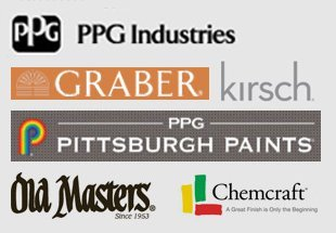 Mannington, DAL Tile, Columbia, Alloc, Wilsonart, HunterDouglas, Kirsch, PPG Industries, PPG Pittsburgh Paints, My Old Masters, Chemcraft, Grabber