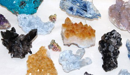 Crystals on table