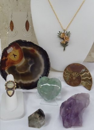 Crystals, Gold and Silver Jewelry