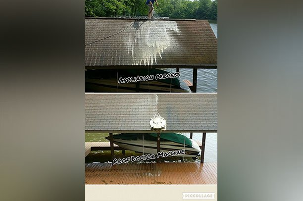 Roof Cleaning - before and after
