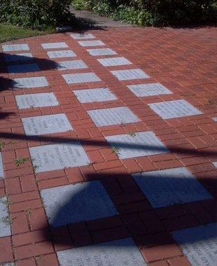 Memorials in a courtyard