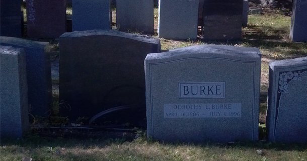 Tombstone with personalized lettering