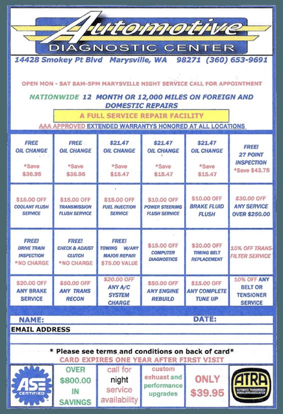 Automotive Diagnostic Center service card
