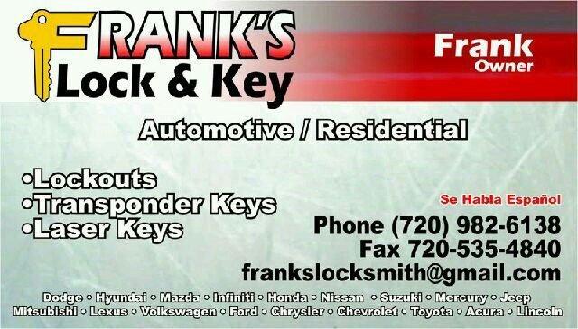 Key Services - Aurora, CO - Franks Locksmith