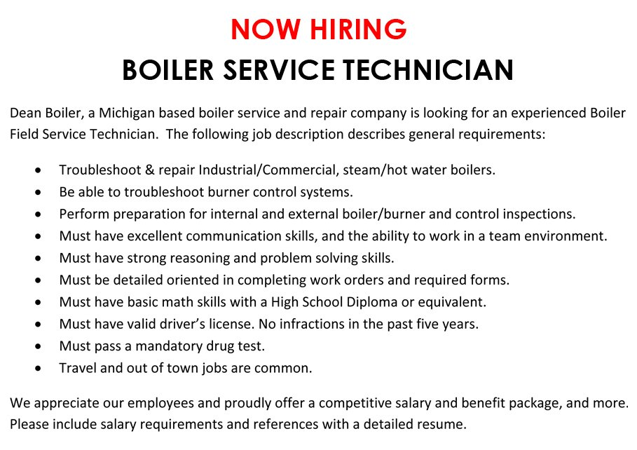 NOW HIRING - BOILER SERVICE TECHNICIAN | Grand Rapids, MI | Dean Boiler Inc. | 616-784-2696