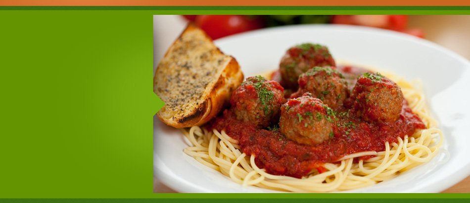 Spaghetti with meatball toasted bread