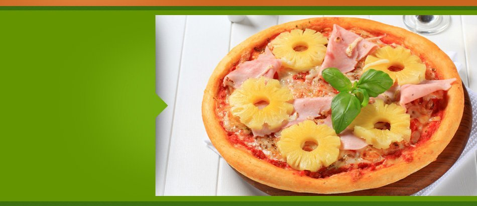 Hawaiian pizza with big pineapples