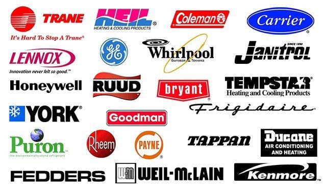 Goodman, Trane, GE, Tempstar, Puron, Fedders, Ruud, Tappan, Coleman, Heil, Kenmore, Atlas, Janitrol, Rheem, Amana, We Service All Brands, Weil-McLain, Payne, Frigidaire, Honeywell, Carrier, Bryant, Whirlpool,