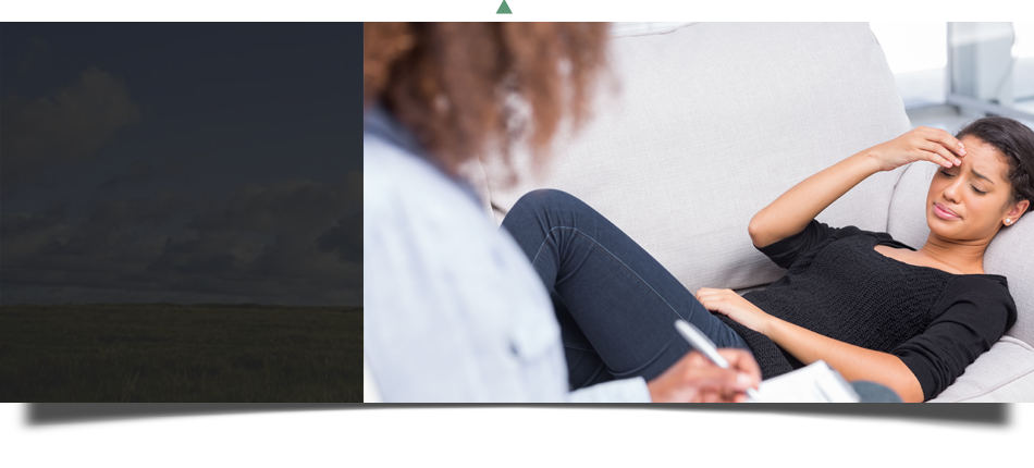 Depressed adolescent  answering to the questions of counselor