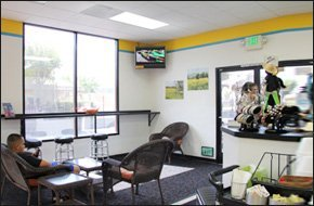 Man watching tv in coffee shop