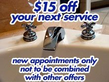Plumbing Service - Louisville, KY - Drexler Plumbing - faucet - $15 off your next service new appointments only not to be combined with other offers