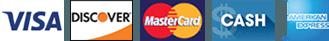 Visa, Discover, MasterCard, Cash, American Express