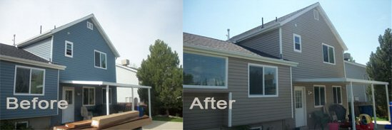 Before and after siding work
