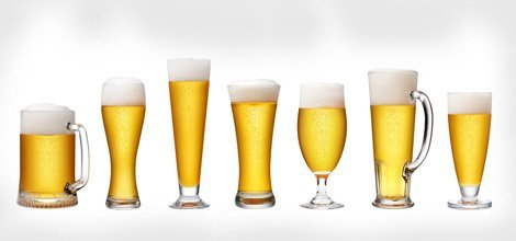 Beers in different glasses