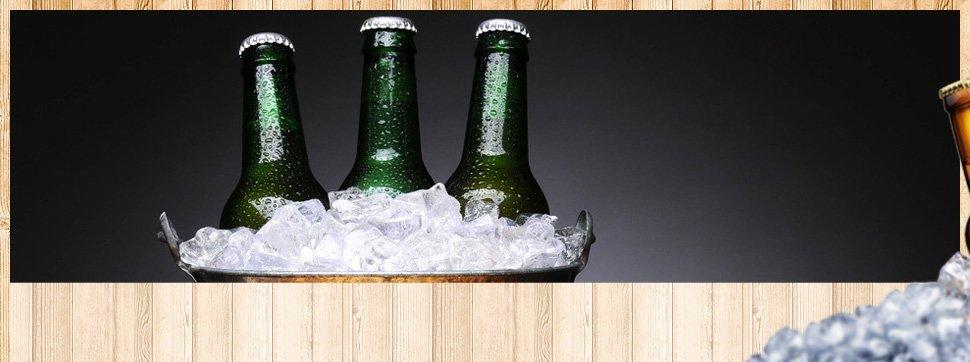 Three green bottles in a bucket