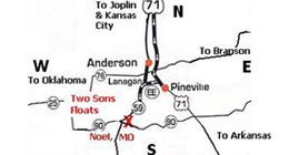 Two Sons Floats & Camping - 15806 Hwy 59 N, Noel, MO 64854