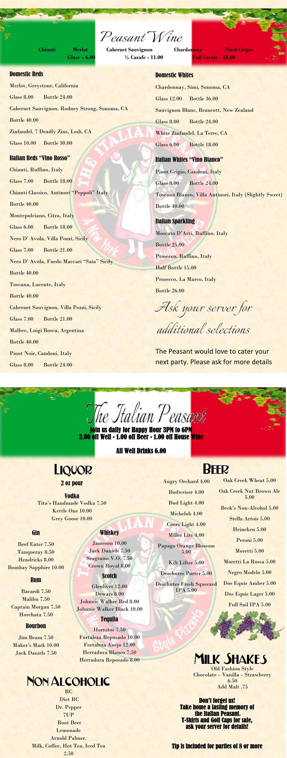 Wine list  | Tubac, AZ | Italian Peasant | 520-398-2668