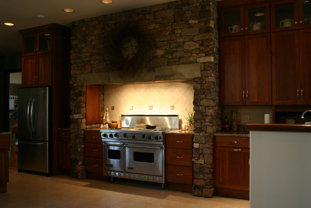 Cherry Kitchen Stone Arch