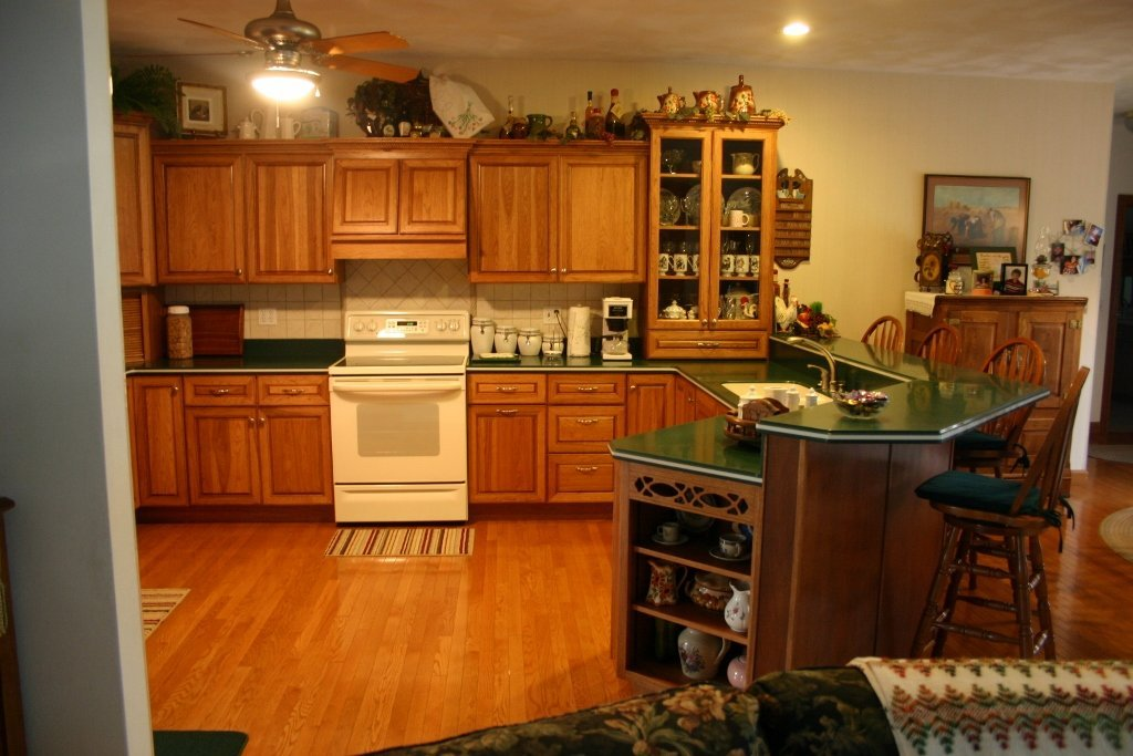 Hickory Kitchen with Green Tops