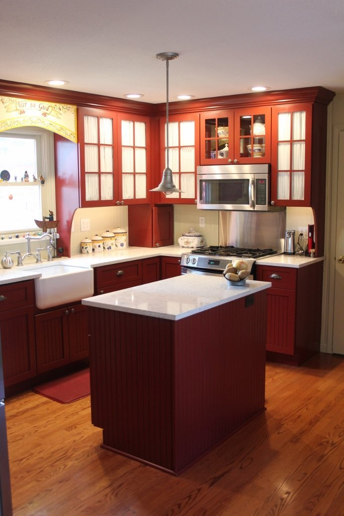 Red Kitchen with Island