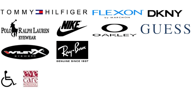 Tommy, DKNY, Polo, Nike, Oakley, and Flexon by Marchon, Wiley X, Ray Ban, Guess, Handicap Accessible and Eye Care Professionals