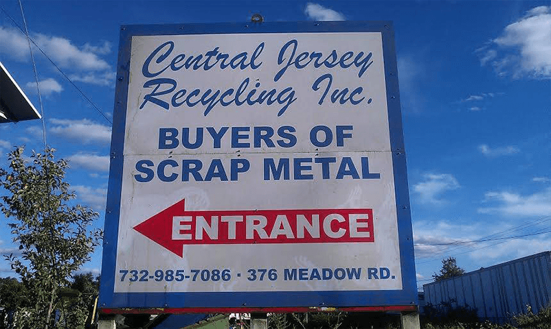 Recycling entrance sign