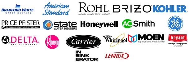 Bradford White |  American Standard | Rohl | Brizo | Kohler | Price | Pfister | State | Honeywell | A.O. Smith | Delta | GE | Rheem | Whirlpool | Carrier | Moen | Bryant | Insinkerator | Lennox