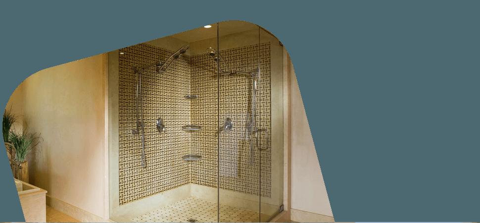 Shower glass doors in bathroom