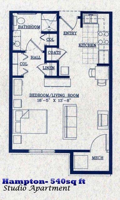 Hampton   540 square feet