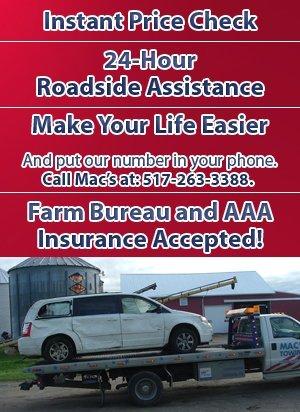 Roadside Assistance - Adrian, MI - Macs Towing