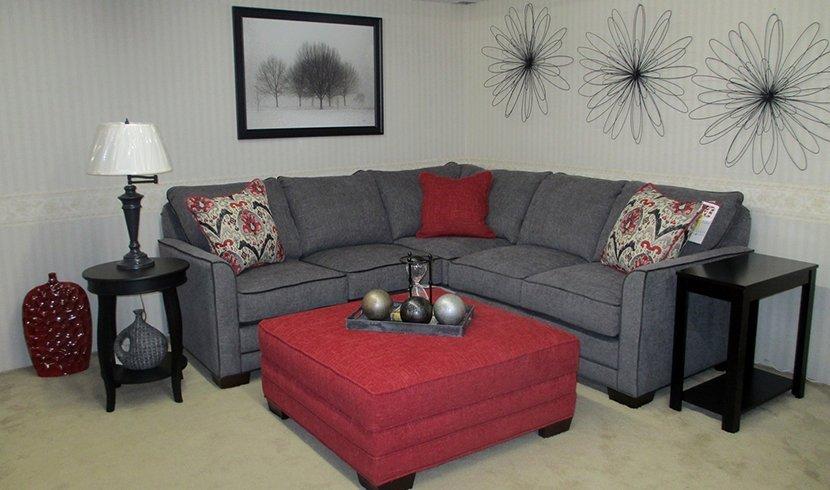 Gray sofa and maroon table