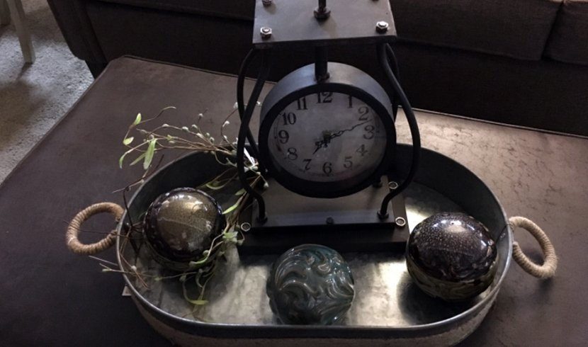 Side table clock and other decor