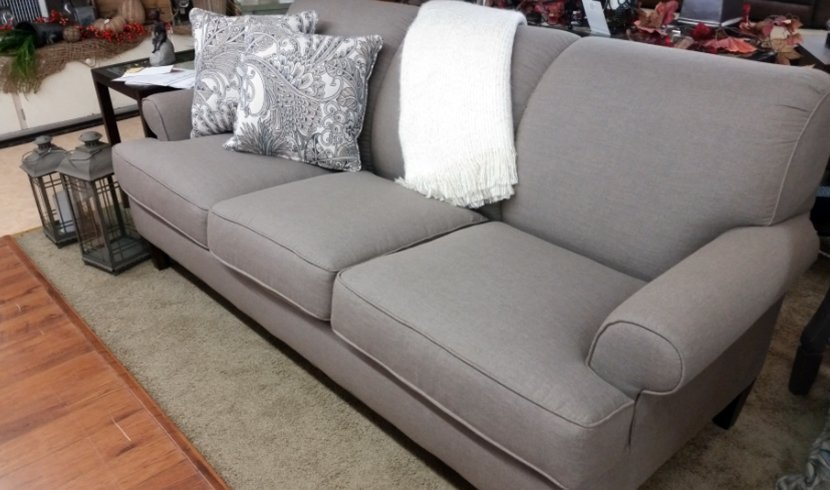 Sofa and two throw pillows