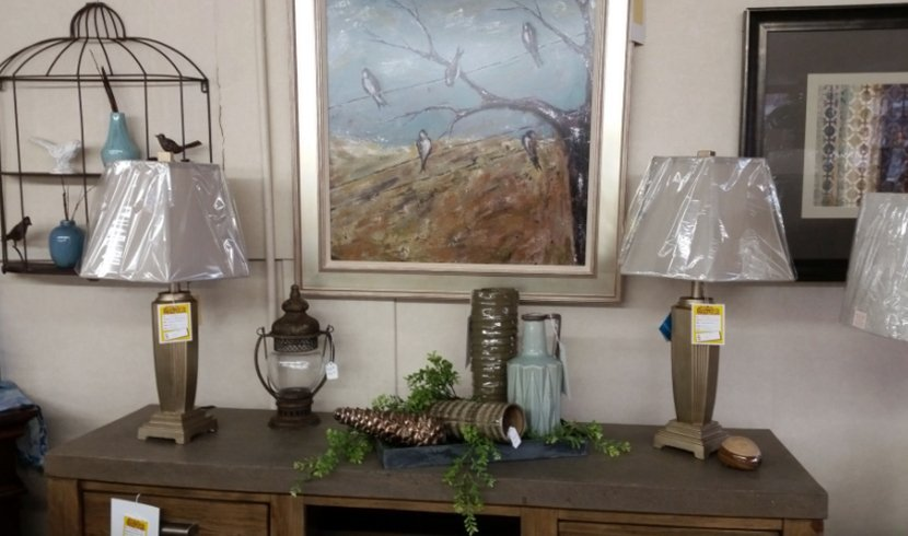 Lamps and paintings