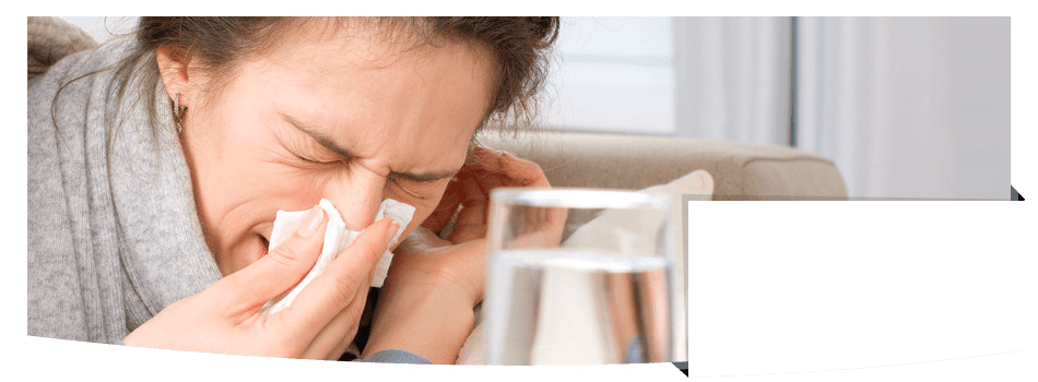 Woman with influenza