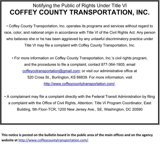 Coffey County Transportation Incorporated - Public Notice