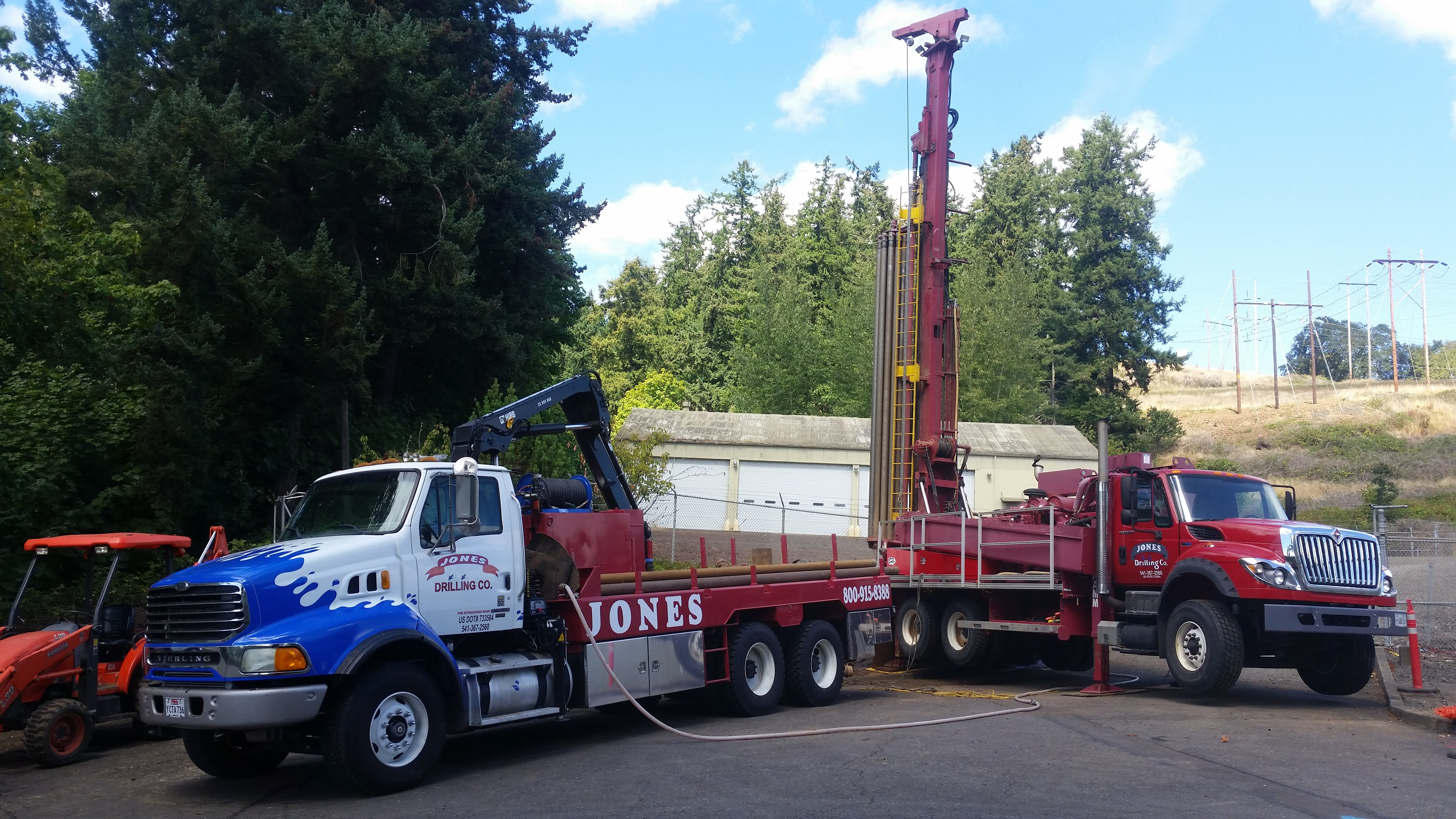 truck drilling well in residential property