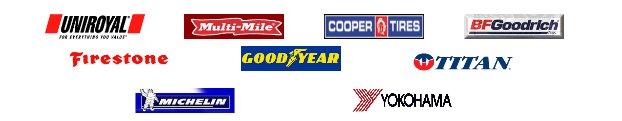 Uniroyal, Multi-Mile, Copper Tires, BFGoodrich, Michelin, Firestone, Good Year, Titan, and Yokohama