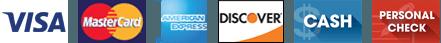 Visa | Mastercard | AmEx | Discover | Cash | Personal Check