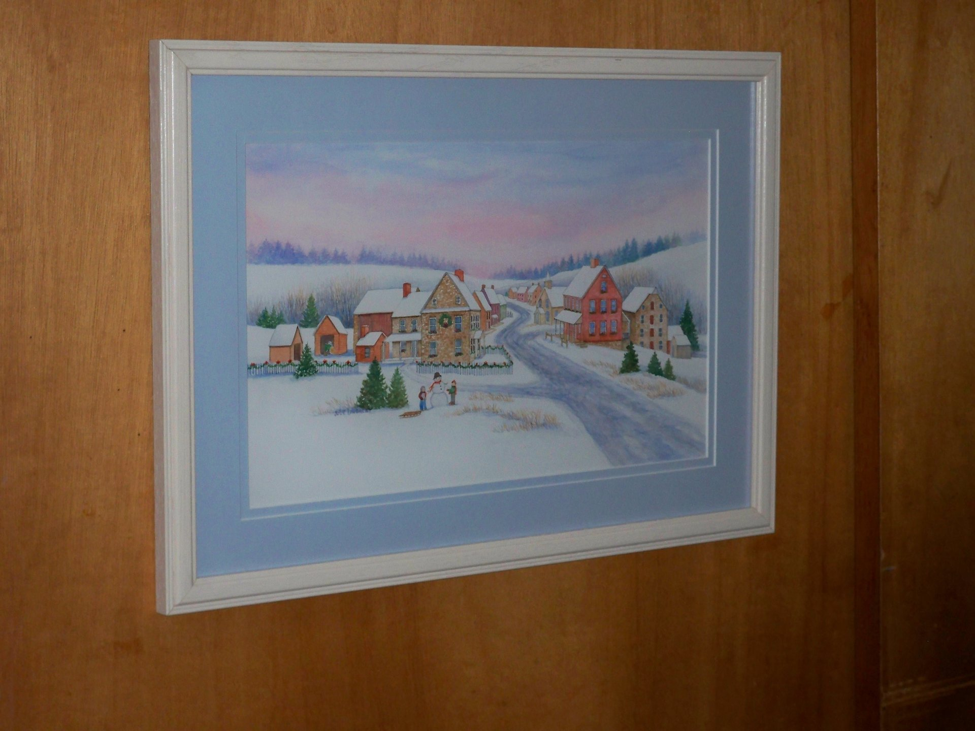Julie's 2014 Christmas Card (matted in light blue rag mat and covered with TruVue