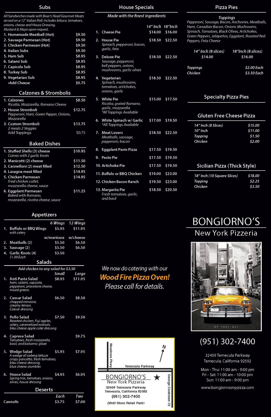 Menu | Temecula, CA | Bongiorno's New York Pizzeria | 951-302-7400