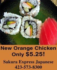 Japanese Restaurant - Bristol, TN - Sakura Express Japanese