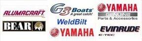 Alumacraft logo, Bear logo, Evinude logo, G3 Boats logo, Yamaha logo
