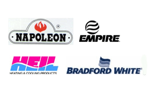 Heil Furnaces, Empire Wall Furnaces, Napoleon & Superior Fireplaces, Bradford White Water Heaters