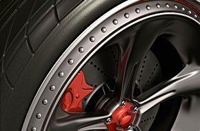 Custom red rims tires